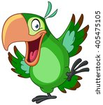 Stock vector happy parrot dancing 405475105