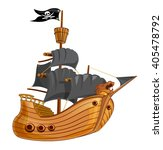 pirate ship with black sail...   Shutterstock .eps vector #405478792