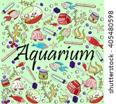 aquarium line art design vector ... | Shutterstock .eps vector #405480598