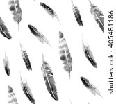 Watercolor Grey Feather Pattern