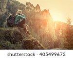 woman hiking around mountains... | Shutterstock . vector #405499672