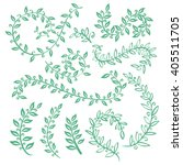 set watercolor wreaths and... | Shutterstock .eps vector #405511705