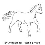 black and white horse image  ... | Shutterstock .eps vector #405517495
