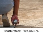 senior playing petanque fun and ... | Shutterstock . vector #405532876