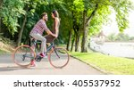 lovers having a deep eye... | Shutterstock . vector #405537952
