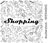 shopping coloring book line art ... | Shutterstock .eps vector #405544042