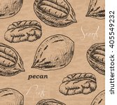 seamless pattern with pecan on...   Shutterstock .eps vector #405549232