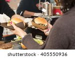 beef burgers being served on... | Shutterstock . vector #405550936