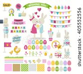 happy easter set. collection... | Shutterstock . vector #405552556