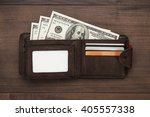 men's purse with money  credit... | Shutterstock . vector #405557338