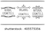 Herbal, organic, natural cosmetics. Hand drawn vignettes with handwritten text. Black lines on white. VECTOR.