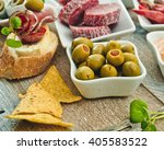 Stock photo national spanish tapas on a wooden background 405583522