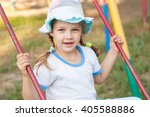 five year girl in summer panama ... | Shutterstock . vector #405588886