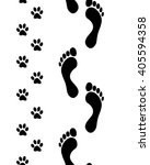 prints of human feet and dog... | Shutterstock .eps vector #405594358