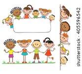 illustration of kids peeping...   Shutterstock . vector #405596542