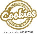 vintage fresh baked cookies sign | Shutterstock .eps vector #405597682