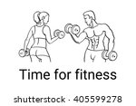 fitness couple and fitness club ... | Shutterstock .eps vector #405599278