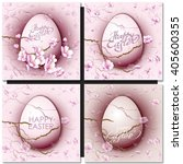 set with easter eggs on purple... | Shutterstock .eps vector #405600355