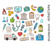 medical icon set.vector medical ... | Shutterstock .eps vector #405607696