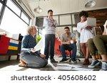 team of creative people having... | Shutterstock . vector #405608602