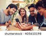 group of young people sitting... | Shutterstock . vector #405610198