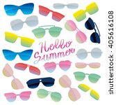 glasses and sunglasses set and... | Shutterstock .eps vector #405616108