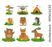 forest camping flat vector... | Shutterstock .eps vector #405616132