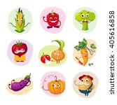 funny vegetable characters set... | Shutterstock .eps vector #405616858