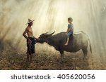 asian farmer is daughter who... | Shutterstock . vector #405620056
