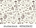 happy birthday vintage pattern... | Shutterstock .eps vector #405620632
