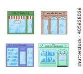 set of vector flat design shops ...
