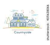 real estate logo design in line ... | Shutterstock .eps vector #405628066