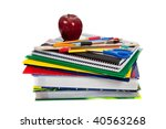 A Stack Of Textbooks With...