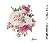 bouquet of roses  watercolor ... | Shutterstock . vector #405635272