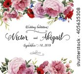 greeting card with roses ... | Shutterstock . vector #405635308
