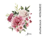 bouquet of roses  watercolor ... | Shutterstock . vector #405636832