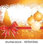 Christmas background with decorations and bow / vector / copy space for your text - stock vector