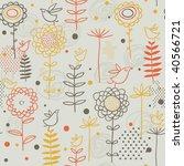 cartoon birds in flowers | Shutterstock . vector #40566721