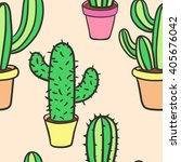 seamless pattern with cactus.... | Shutterstock .eps vector #405676042