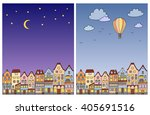 day and night vintage town... | Shutterstock .eps vector #405691516