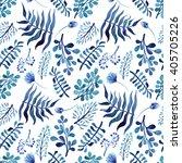 watercolor deep blue flowers...   Shutterstock . vector #405705226