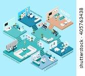 hospital icons isometric... | Shutterstock .eps vector #405763438