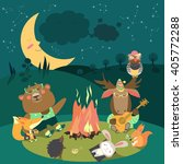 animals resting around bonfire  | Shutterstock .eps vector #405772288