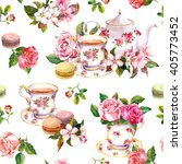 Tea Pattern With Flowers ...