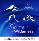 set of mountains peaks and... | Shutterstock .eps vector #405777232