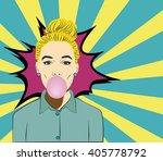 pop art woman with gum vector... | Shutterstock .eps vector #405778792