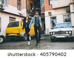 youth and fashionable couple on ... | Shutterstock . vector #405790402