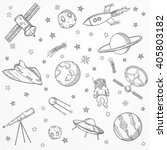 hand drawn set of astronomy... | Shutterstock .eps vector #405803182