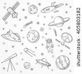 hand drawn set of astronomy...   Shutterstock .eps vector #405803182
