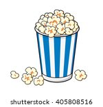 popcorn in a blue striped... | Shutterstock .eps vector #405808516
